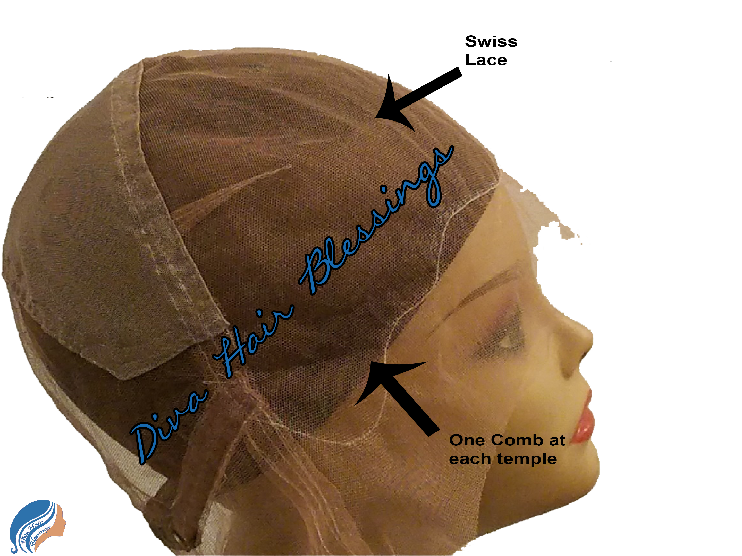 Glueless Full Swiss Lace Cap with Stretch Center Panel